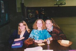 Socializing at a party in the early days of our group, around 1998.