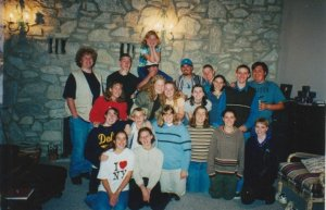Youth group friends at a party at my house around 2000.