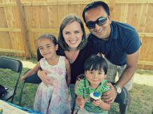 Karen, Rajeev, and their kids last summer