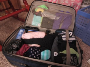 My tightly packed suitcase for a two week trip to Kolkata
