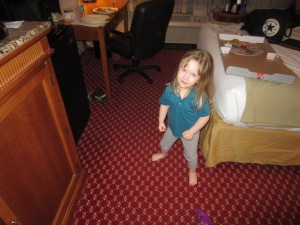 Ruthie doing some pre-bedtime dancing in our hotel room