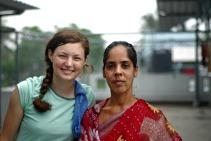 My fellow volunteer, Emily, with a Shanti Dan mashi.