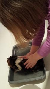 Ruthie giving Luke his bath