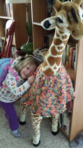 Ruthie and her giraffe, David Bowie