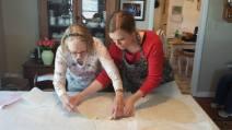 My Grandma Ruthie, teaching my sister Karen to make noodles
