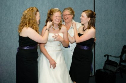 My mom, sisters, and me on Sara's wedding day