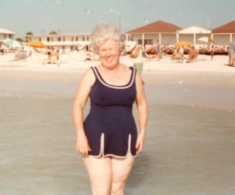 "I love this photo of my Grandma Millie at the beach. She does not have the ""perfect"" body, and yet I love what I see here. She is beautiful."