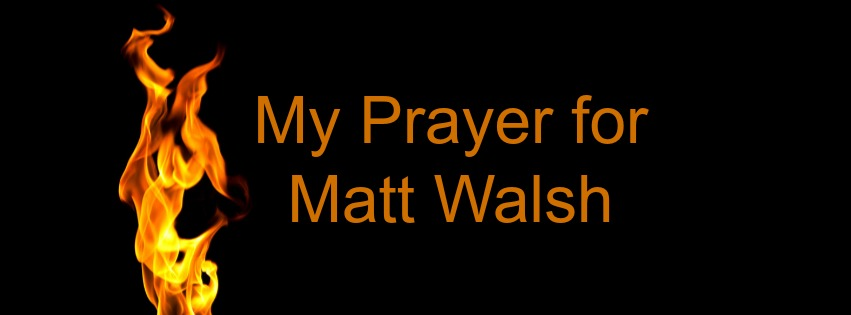 The flames in his image represent the anger Matt Walsh exhibits in his writing, and the anger felt by those who oppose him.