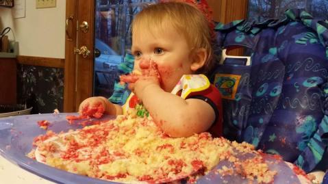 Smashin' that birthday cake!